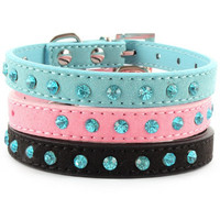 Small Pet Velvet PU Leather Collar Dog Collar, Puppy Collar & Cat Collar with Rhinestones