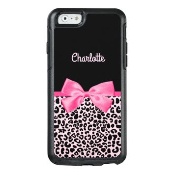 Girly Pink Black Leopard Print Cute Bow and Name OtterBox iPhone 6/6s Case
