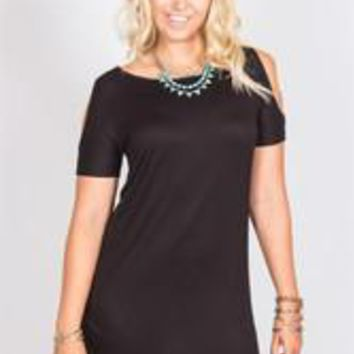 Open Shoulder Tunic - Black - S