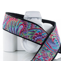 Paisley Rainbow dSLR Camera Strap,Psychedelic, Camera Neck Strap, Pocket, SLR, Canon camera strap, Nikon camera strap, 89