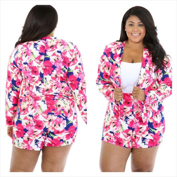 Pink Floral Blazer With High Waisted Short