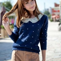 Wholesale Paillette Embellished Round Collar Dots Cardigan Deep Blue