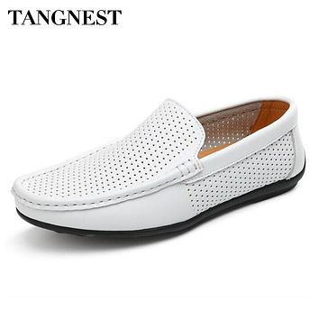 Tangnest NEW Split Leather Men's Shoes Casual Cut-out Breathable Loafers For Male Driving Shoes Comfortable Moccasins  XMR2657