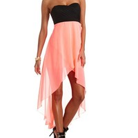 PLEATED STRAPLESS HI-LO DRESS