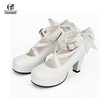 ROLECOS 4 Colors Girl Lolita Shoes Woman Cosplay Shoes Sweet High Heels Wedges Pumps Women Princess Dress Shoes