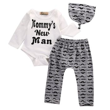 3PCS Set Cotton Newborn Baby Girls Boys Tops Full Sleeve Romper +Long Pants Hat Outfits Clothes 0-18M