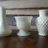 Milk Glass Vases, Set of 3 White Vases, Hobnail Milk Glass Avon, Vintage Flower Vases, Bud Vases, FREE US Shipping