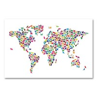16'' x 24'' ''World Map - Cats'' Canvas Wall Art by Michael Tompsett