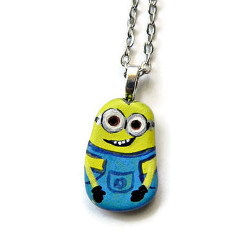 "MINION Necklace KEVIN Pendant Hand Painted Stone Rock Necklace Silver  24"" Ball Chain Original"