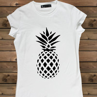 Women's Tshirt pineapple, Ladies White T Shirt Screen Printing T-shirts, Women's T-Shirts, Tshirt, Size S, M, L