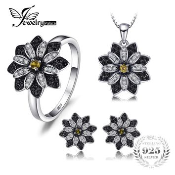 JewelryPalace Flower Taupe Smoky Quartz Black Spinel Rings Pendant Necklaces Stud Earrings Fine Jewelry Sets 925 Sterling Silver