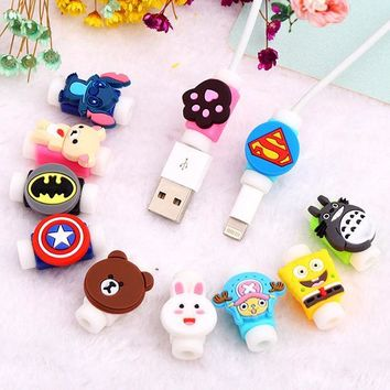 100Pcs Cartoon USB Cable Earphones Protector Colorful Cover Cable Winder Data Line Protection Sleeve For iPhone Xiaomi Huawei