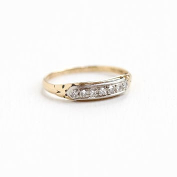 Vintage 14k & 18k Yellow and White Gold Diamond Wedding Band Ring - Art Deco 1920s Dated 1923 Size 6 1/4 Two Tone Bridal Fine Flower Jewelry