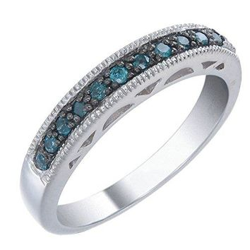 0.50 Carats Sterling Silver Blue Diamond Wedding Band (1/2 CT)