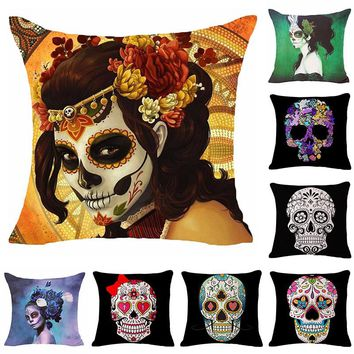 Beautiful Women Skull Printed Cotton Linen Pillowcase Decorative Pillows Cushion Use For Home Sofa Car Office Almofadas Cojines