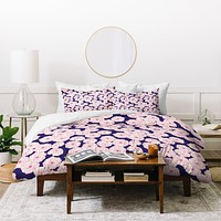 Joy Laforme Floral Sophistication In Navy Duvet Cover