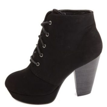 Chunky Heel Lace-Up Platform Booties by Charlotte Russe