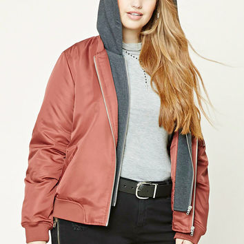 Plus Size Hooded Bomber Jacket - Plus Size - Outerwear - 2000231743 - Forever 21 EU English
