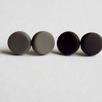 Small Matte Black Studs and Matte Gray Studs Unisex Earring Set of Post Studs