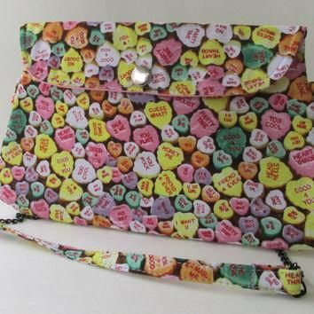 Conversation Hearts Clutch Purse with Chain Strap / Valentine's Day / Candy Hearts