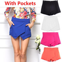 Brand New 2015 Woman shorts Summer Ladies Asymmetrical Geometric Shape Tiered Shorts Casual Culottes Short American Apparel V