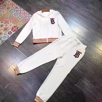 """TB"" Woman's Leisure Fashion Letter Embroidery Printing Zipper Long Sleeve Coat  Tops Trousers Two-Piece Set Casual Wear"