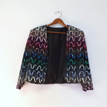 Vintage 80s Black Metallic Sequin Dress Jacket Small Medium Dress Cover 60s Mod Suit Blazer Disco Glam Prom Punk Hipster Chevron Embroidered
