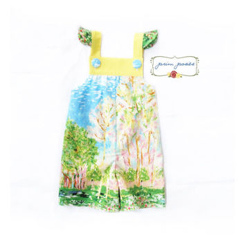 Toddler Girl Clothing, 3T Girls Clothing, Toddler Girl Romper, Girls Overalls, Childrens Clothes, Monet Fabric, Handmade Clothing, Size 3T