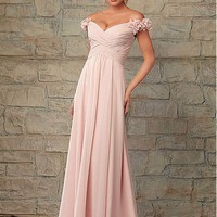 [86.67] Chic Chiffon Off-the-shoudler Neckline Floor-length A-line Bridesmaid Dress - dressilyme.com