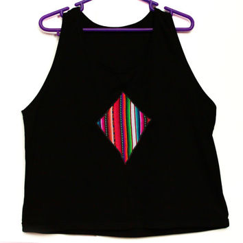Tribal Top, Women Tank, Rainbow Top in Peruvian fabric, Peruvian textile, Women's Tshirts, Women's Tops, Tank Top, T shirt