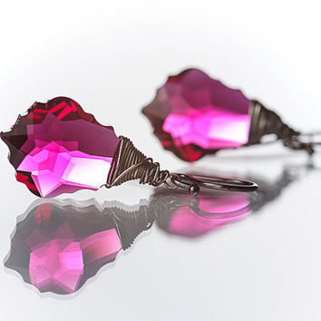 Deep Ruby Pink Beadwork Earrings Swarovski Baroque Earrings Wire Wrapped Summer Jewelry