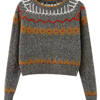 Contrast Color Jacquard Long Sleeves Crop Sweater