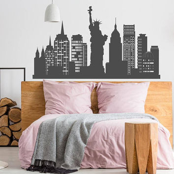 NYC Skyline Wall Decal New York City Silhouette Vinyl Sticker- NYC Theme Decor- Statue Of Liberty Decal Office Decor New York Cityscape K162