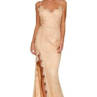 Nude Yum Lacy Lace Bridal Wedding Party Gown