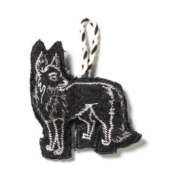 Embroidered Fox Ornament - Grey/Ivory
