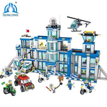 1397pcs Police Station Building Blocks Compatible Mine Crafted LegoIN City Series Brick Toys For Boy Girl Children Friends Gifts