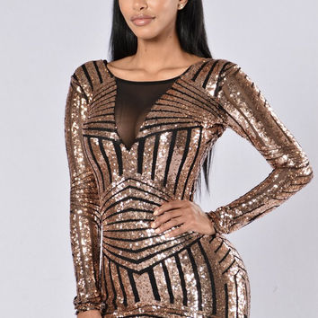 Mesh Paneled Metallic Sequined Party Dress