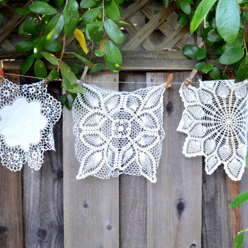 Lot of 3 Vintage Doilies, Mismatched, Round and Square, White, Hand Made, circa 1950s-1960s