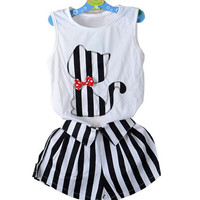 Girls Cat 2 pc Vest with Shorts