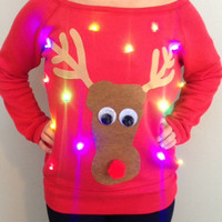 Woman's UGLY CHRISTMAS SWEATER - Rudolph!!! - Light Up - Swoop Neck Christmas Sweater