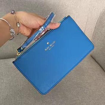 Kate Spade Simple Zipper Wrist Bag Handbag Wallet Blue (22 color)