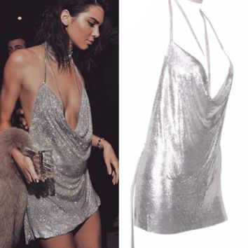 Kenda Silver Metallic Mini Dress