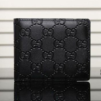 Gucci Popular Men Women Classic Print Leather Purse Wallet Black I