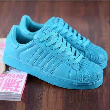 """""""Adidas"""" Fashion Shell-toe Flats Sneakers Sport Shoes Pure color cute Blue"""