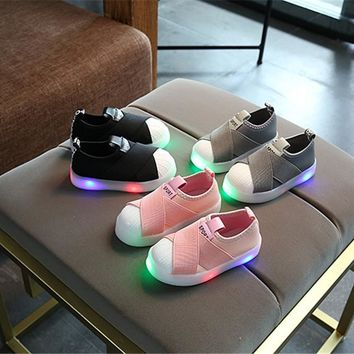 Colorful Led Flashing Boys/Girls Casual Shoes Lights Factory Shell Head Kids Glowing Sneakers Braid Children Luminous Shoes X15