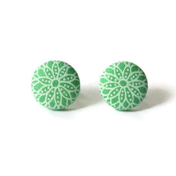 Green Earrings Fabric Cover Buttons Art Deco Style Flowers Summer Accessory