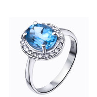 Natural Topaz 2.4ct oval cut 925 sterling silver ring