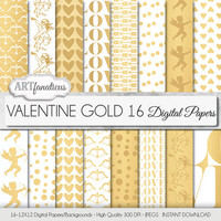 "Gold Metallic Digital Papers ""VALENTINE GOLD"" Gold backgrounds,cupids, hearts, love sign, gold arrows, dots for photographers, scrapbooking"