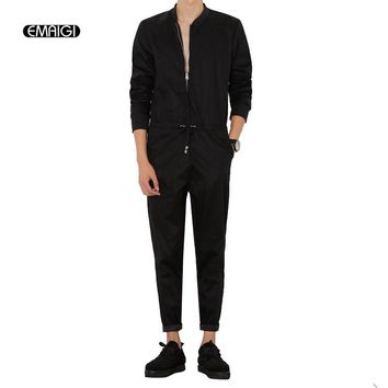 Mens Jumpsuit Fashion Long Sleeved Overalls Male Elegant Cool Overalls Slim Fit Harem Pants Hip-Hop Trousers Black Jumpsuit A94