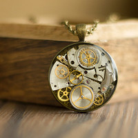 Steampunk Necklace, Stopped Time Pendant, Old Watch Parts Necklace